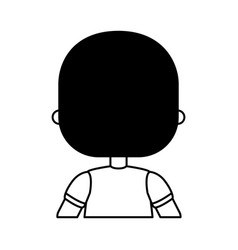 Cute little boy with back character vector