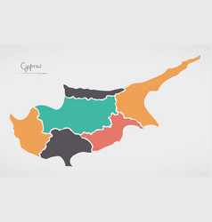 cyprus map with states and modern round shapes vector image
