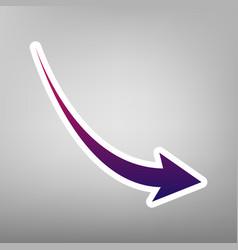 Declining arrow sign purple gradient icon vector