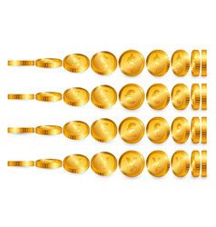 dollar euro pound yen gold coins set isolated on vector image
