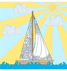 Doodle boat floating on the waves vector image