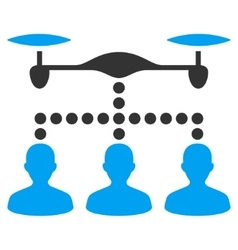 Drone Clients Connection Flat Icon vector