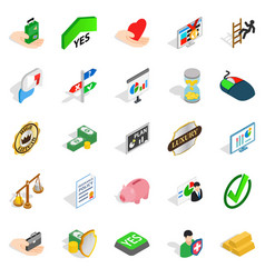 Edge icons set isometric style vector