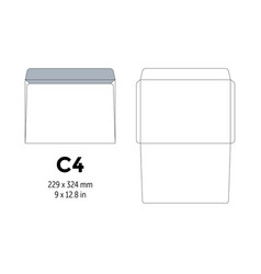 envelope c4 template for a4 a5 paper with cut vector image