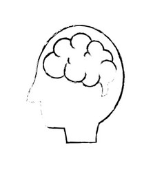 Figure side man with anatomy brain vector
