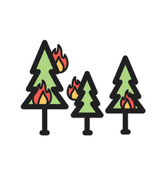 Fire in forest vector