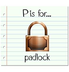 Flashcard alphabet P is for padlock vector