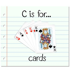 Flashcard letter C is for cards vector