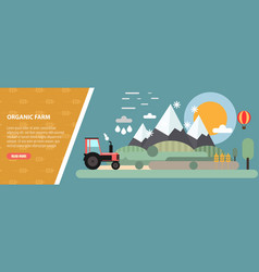 Flat design mountain and farm meadow landscape and vector