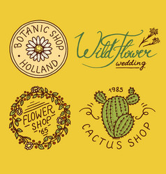 flower shop emblems and bright logo vintage vector image