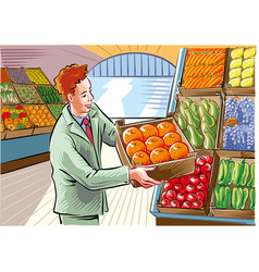 Fruit and vegetable market vector