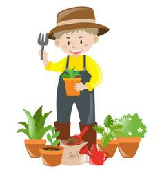 Gardener with lots of flower pots vector