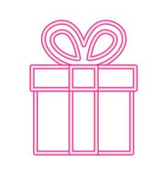 gift box neon white background vector image