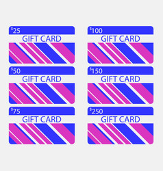 gift card modern design with stripes blue and vector image