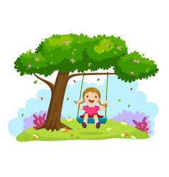 Girl swinging on a swing under the tree vector