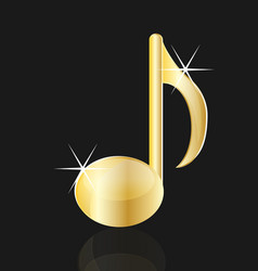 golden musical note isolated vector image
