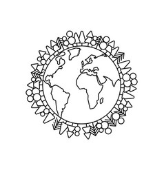 green planet earth concept in line style vector image