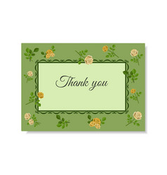 greeting card with yellow roses on a green vector image