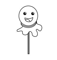 happy halloween ghost on stick vector image