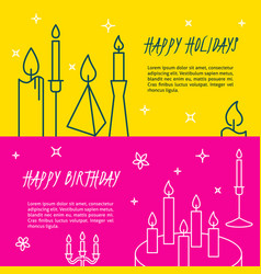 happy holidays flyer templates in line style vector image