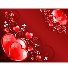 hearts on a red background vector image