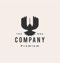 Hummingbird colibri top view hipster vintage logo vector