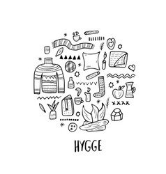 Hygge concept isolated symbols vector