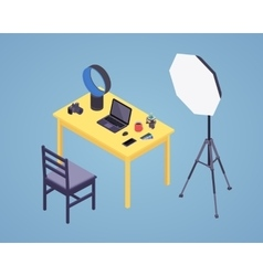 Isometric photographer workplace vector image