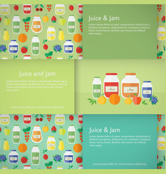 jam and juice isolated banners in flat style vector image