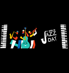 jazz day banner of music band in concert vector image