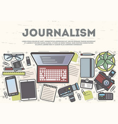 journalism top view banner in line art style vector image