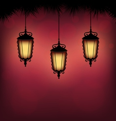 Lanterns with pine on red vector