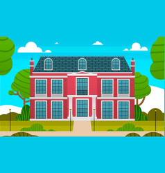 Large red private house and empty front yard with vector