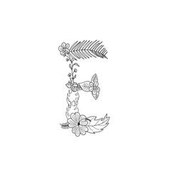 Letter e floral ornament vector