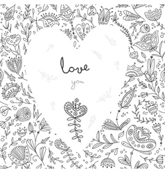 Love you white heart on floral background card vector image