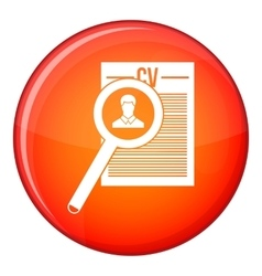 Magnifying glass over curriculum vita icon vector