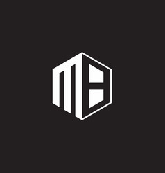 Mb logo monogram hexagon with black background vector