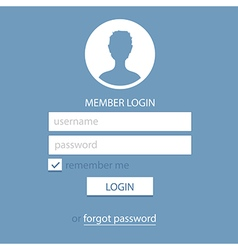Memeber login page template blue vector