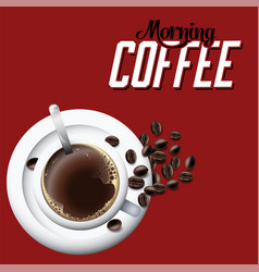 morning coffee white coffee cup red background vec vector image
