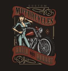 motorcycle repair service vintage emblem vector image
