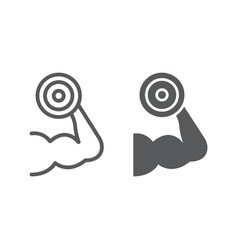 Muscle growth training line and glyph icon gym vector
