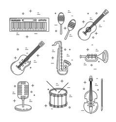 Music icons line art set instrument design vector
