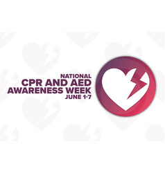 National cpr and aed awareness week holiday vector