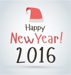 New Years poster card red Santa hat vector image
