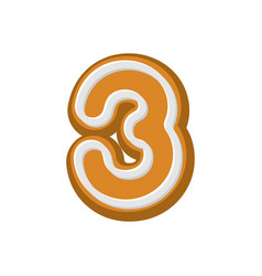 number 3 gingerbread font peppermint honey-cake vector image