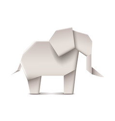 Origami elephant isolated on white vector image vector image