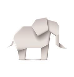 Origami elephant isolated on white vector image