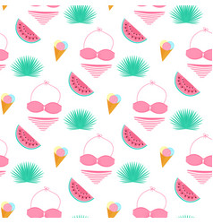 palm leaf ice cream swimsuit watermelon summer vector image
