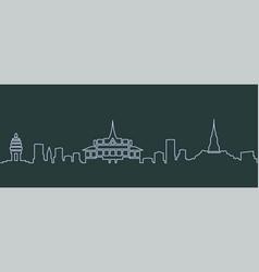 phnom penh single line skyline vector image