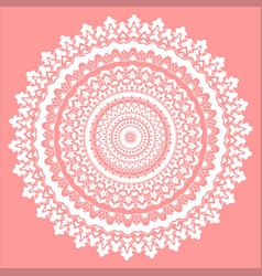 Pink and white mandala vector